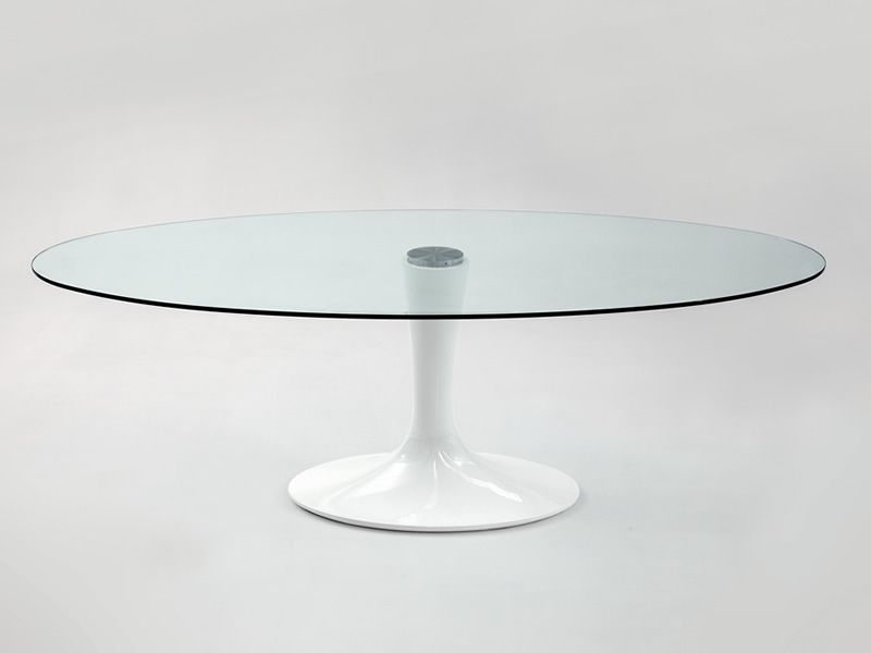 Best cool imperial table ovale en marbre agglomr blanc brillant avec plateau en verre with table - Table knoll ovale marbre blanc ...