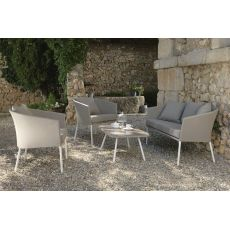 Amy Set - Outdoor design set: sofa, 2 armchairs, 1 coffee table 98x55 cm