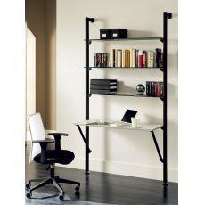 Ok-9 - Domitalia storage wall made of aluminium with glass shelves and melamine writing desk