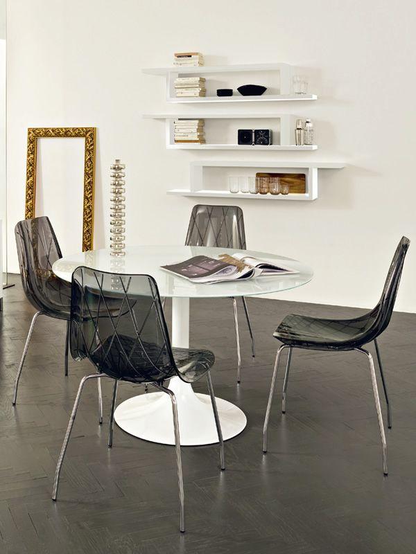 Corona 120 tavolo rotondo domitalia in metallo piano in for Tavolo rotondo vetro