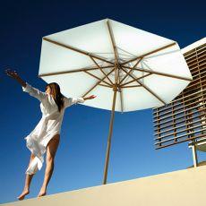 OMB10 - Parasol redondo de jardín con palo central de madera, disponible en varias medidas