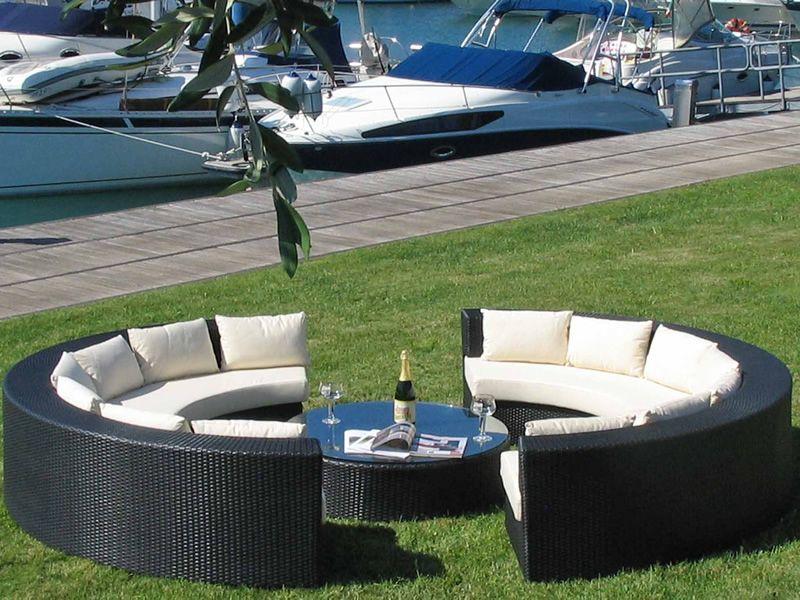 atollo set de jardin d 39 ext rieur quip de 2canap s en demi cercle et 1 table basse ronde en. Black Bedroom Furniture Sets. Home Design Ideas