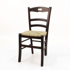 125 - Sedia rustica in legno, diverse tinte disponibili, con sedile in legno, paglia o diversi tipi di tessuto