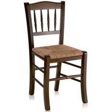 122 - Country style chair in wood, different dyes available, with seat in wood, straw or different types of fabric