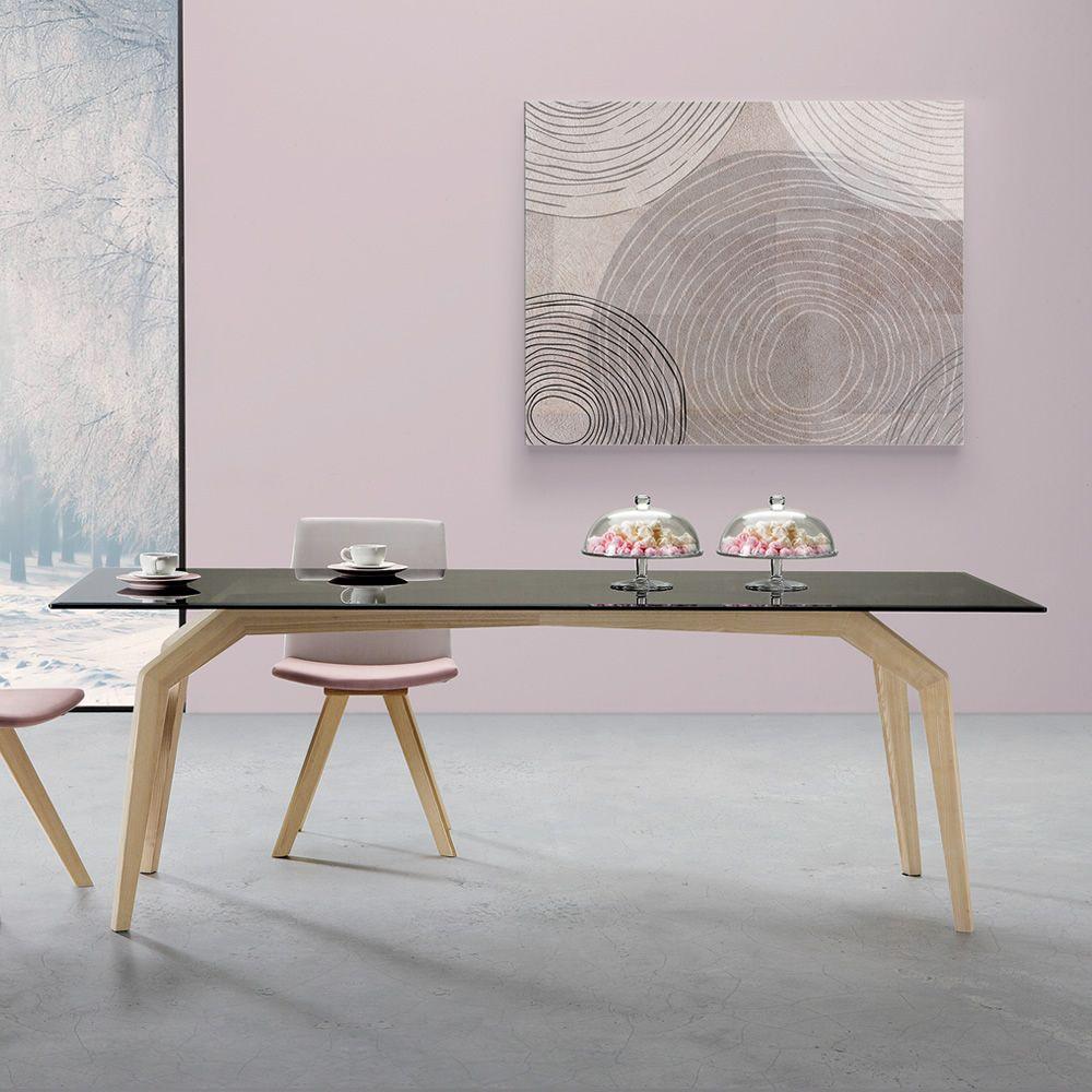 Spider mesa moderna de madera tapa de cristal - Estructuras para mesas ...