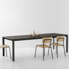 CB4724-M 160 Eminence A - Connubia - Calligaris metal table, different tops available, 160 X 90 cm extendable, 1 extension