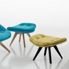 Betibù Wood SG - Pouf ou tabouret bas design Chairs&More, en bois, assise rembourrée, disponible dans différentes couleurs