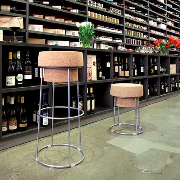 bouchon b pour bars et restaurants tabouret en m tal avec assise en li ge hauteur 46 cm. Black Bedroom Furniture Sets. Home Design Ideas