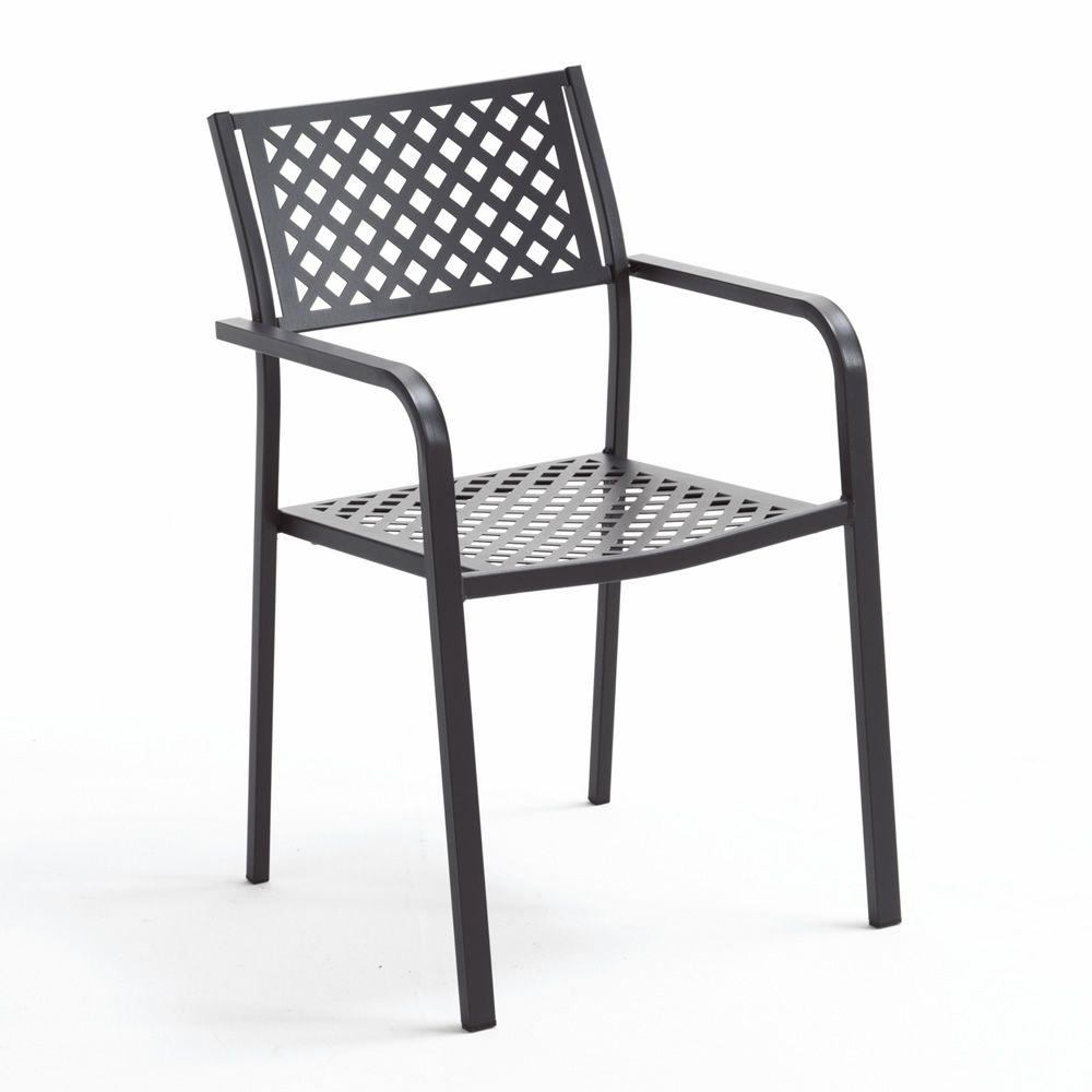 rig17p chaise en m tal avec accoudoirs empilable pour le jardin sediarreda. Black Bedroom Furniture Sets. Home Design Ideas