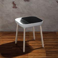 App - Tavolino Domitalia in legno, piano in poliuretano e MDF laccato, diversi colori disponibili