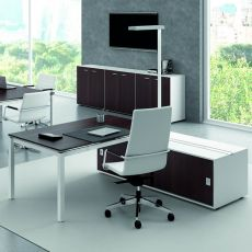 Office X4 03 - Office desk with double sided operational box, in metal and laminate, available in different dimensions and finishes