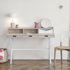 Hyppolite - Design secretary desk in metal and wood, with drawers