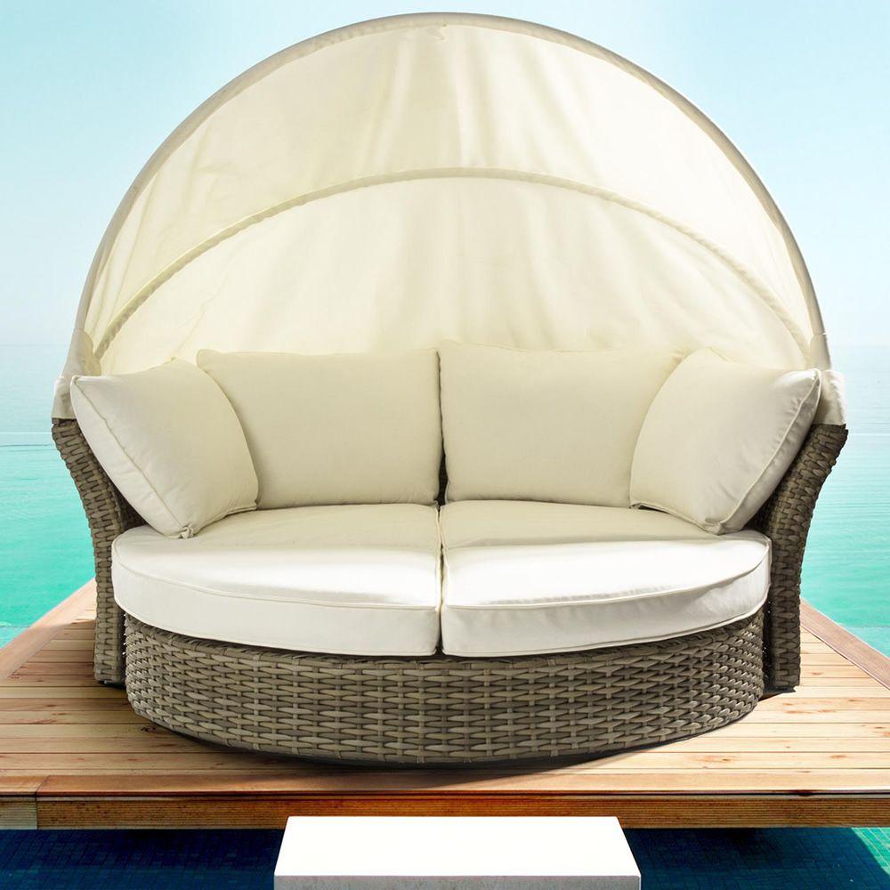 Salpi divano da giardino in rattan sintetico con cappottina reclinabile sediarreda - Divano da giardino ...