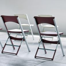 Compact - Outdoor folding chair, in metal and technopolymer, available in different colors