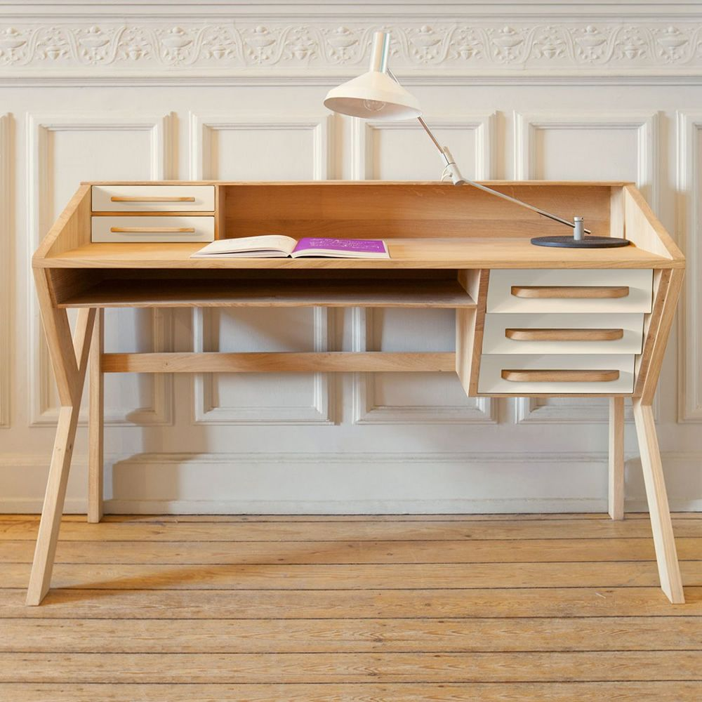 Origami Oak Desk With 5 Drawers Made Of Mdf Cream White Colour
