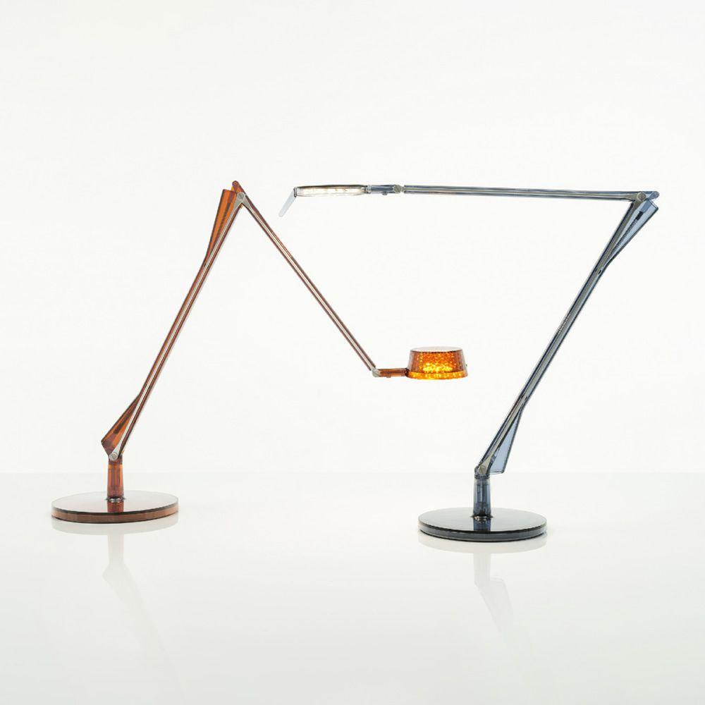 Aledin | Lampada da tavolo Kartell in policarbonato trasparente e alluminio, color ambra (versione Dec) e blu (versione Tec)