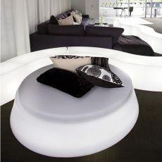 Giò Pouf - Pouf Slide en polyéthylène, coussin en simili cuir, avec éclairage