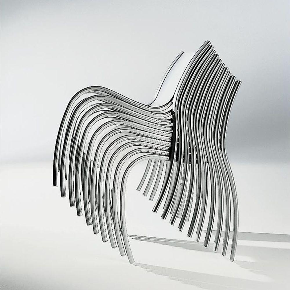 Fpe designer stuhl von kartell stapelbar aus aluminium for Designer stapelstuhl