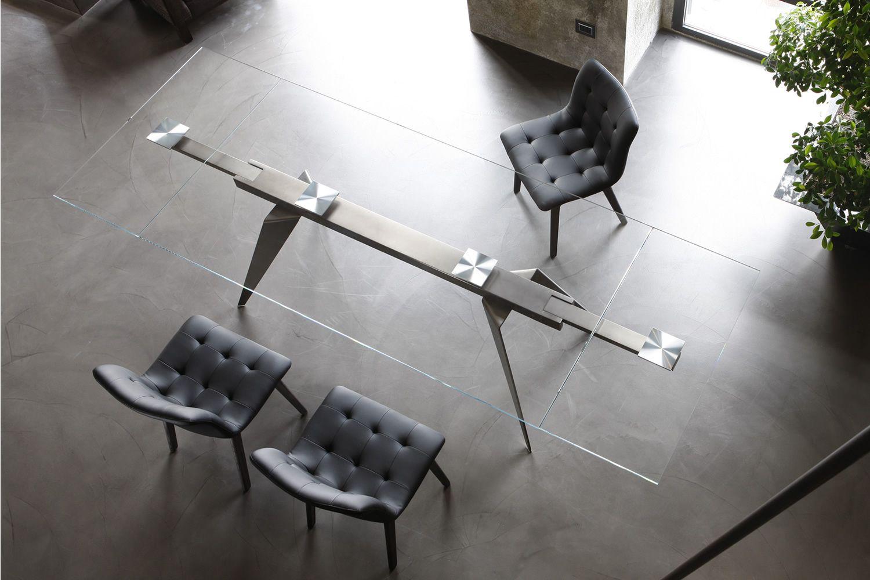 Ramos ext tavolo di design di bontempi casa in metallo for Tavolo allungabile vetro trasparente