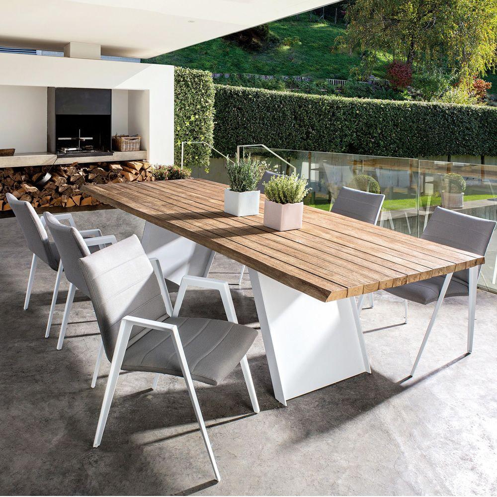 Roxa t tavolo in metallo piano in teak 270x106cm per for Tavolo giardino metallo