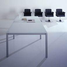 Office X4 Meet Glass - Tavolo da riunione, struttura in metallo e piano in vetro, disponibile in diverse dimensioni e finiture