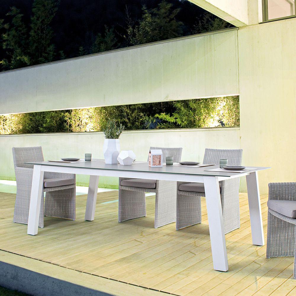 Lorenz tavolo in alluminio piano in vetro temperato for Tavolo in alluminio