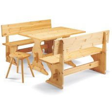 Panca Pizzeria - Pine wood bench with backrest, different sizes and finishes available