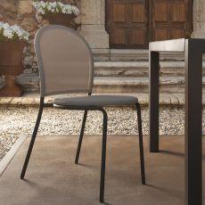 Curvy - Chaise en métal et textilène, disponible en différentes couleurs, idéale aussi pour jardin