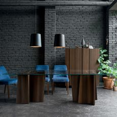Stripe - Dall'Agnese fixed table made of veneered wood with glass top, different colours and sizes available