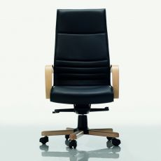 Dama High - Executive chair with high backrest, available in fabric, leather or imitation leather