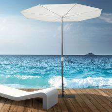 OMB52 - Design parasol with central base in aluminium, round, with opening system from the bottom