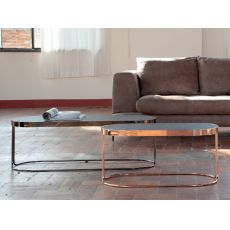 6035-O Cora - Tonin Casa coffee table made of metal and wood, several finishings and sizes