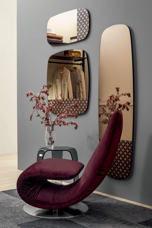 Marguerite 6465 tonin casa mirror in wood sediarreda for Mirror 80 x 50