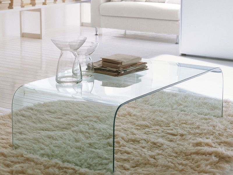 Anemone 6850 | Rectangular Coffee Table Made Of Extra Clear Transparent  Glass