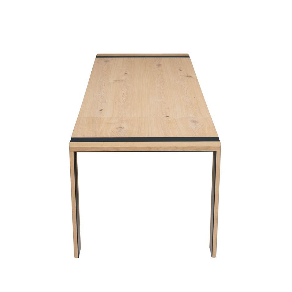 Zack - Tavolo moderno in metallo e legno, piano in legno 213x90 cm ...