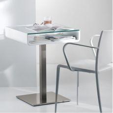 Multifunzionale - Tavolo o scrivania Pedrali, con sottoripiano, in acciaio inox, legno e vetro, diverse finiture disponibili