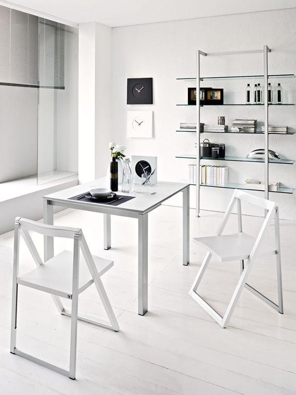 ... CB207 Skip   Folding Chair Made Of Aluminium And Beech, Matt Optic  White Lacquered Colour ...
