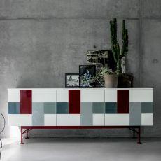 Glass-V - Dall'Agnese sideboard made of metal and veneered wood, different colours available, three doors with decorative tiles in coloured glass