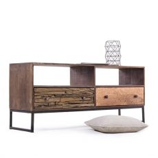 Abuja 2C - Vintage low cabinet for living room, made of wood with iron legs, with two drawers