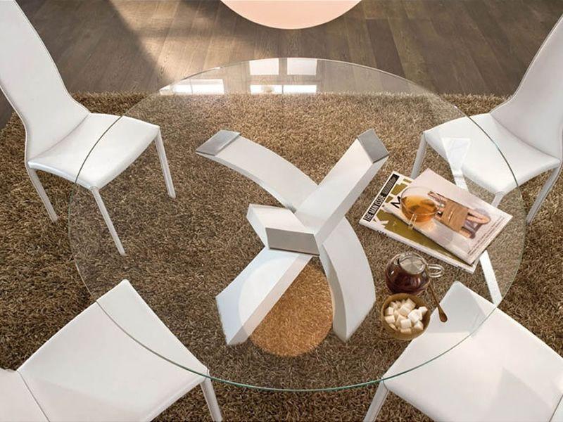 Runder Tisch Glasplatte : ... 8028 - Runder Tisch aus lackiertem Metall in Weiss mit Glasplatte