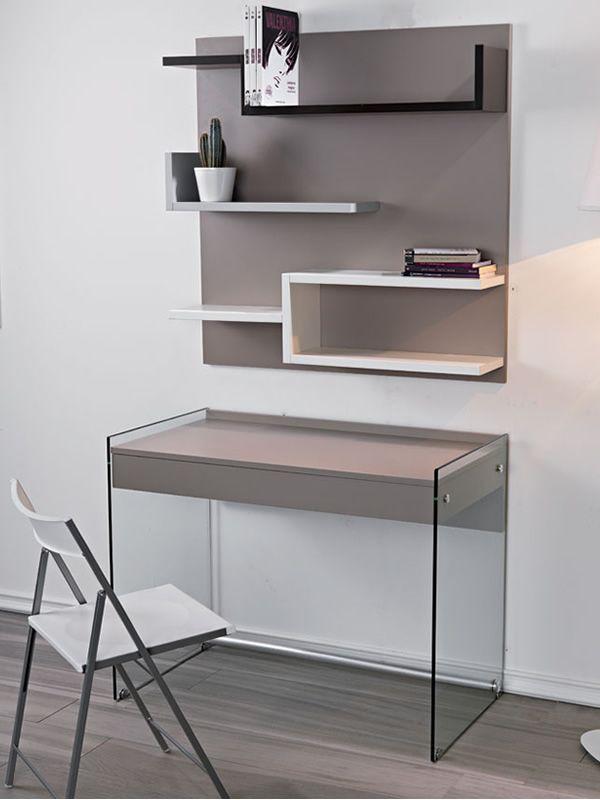 my b composition avec bureau en verre et biblioth que en stratifi sediarreda. Black Bedroom Furniture Sets. Home Design Ideas