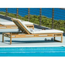 Kontiki L - Emu sun lounger made of wood, reclining backrest, for garden