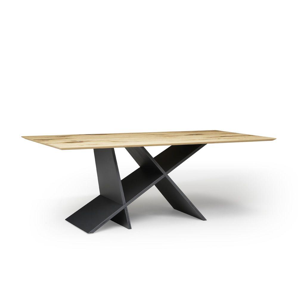 Emme table moderne en bois plateau en verre ou bois for Table moderne en bois
