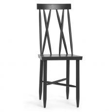 Family No.1 - Stuhl aus lackiertem Bucheholz in Weiss oder Schwarz, hohe Rückenlehne