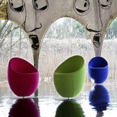 Ouo - Poltrona di design Adrenalina, girevole, con base in alluminio, disponibile in diversi tessuti e colori