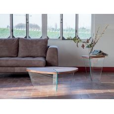 Aida 6037 - Tonin Casa coffee table made of glass with wooden, several sizes and colours available