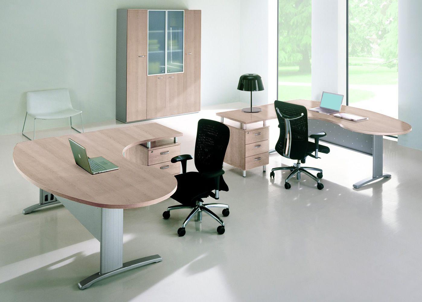 idea system 02 b roschreibtisch mit winkelkombination und container aus metall und laminat in. Black Bedroom Furniture Sets. Home Design Ideas