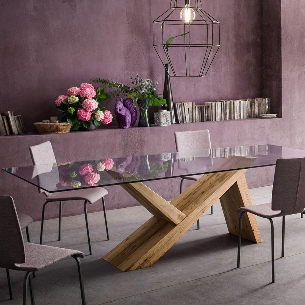 aKeo F - Tavolo di design in legno, fisso, con piano in vetro ...
