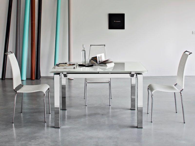 Airport One Tisch ~ CS4011 Airport Verlängerbarer Tisch Calligaris aus Metall, Platte aus Glas o