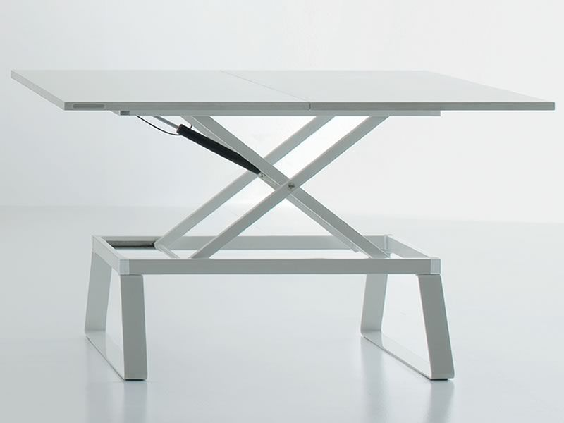 Orione Transformable Coffee Table Made Of Metal With Wood Top 110 X 60 Cm Sediarreda